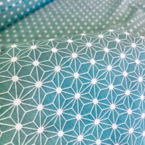 coton geometrique bleu